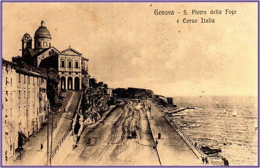 Cartolina antica di Genova, la Foce chiesa di S Pietro