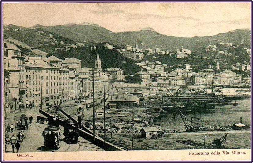 Panorama San Teodoro Genova, cartolina antica