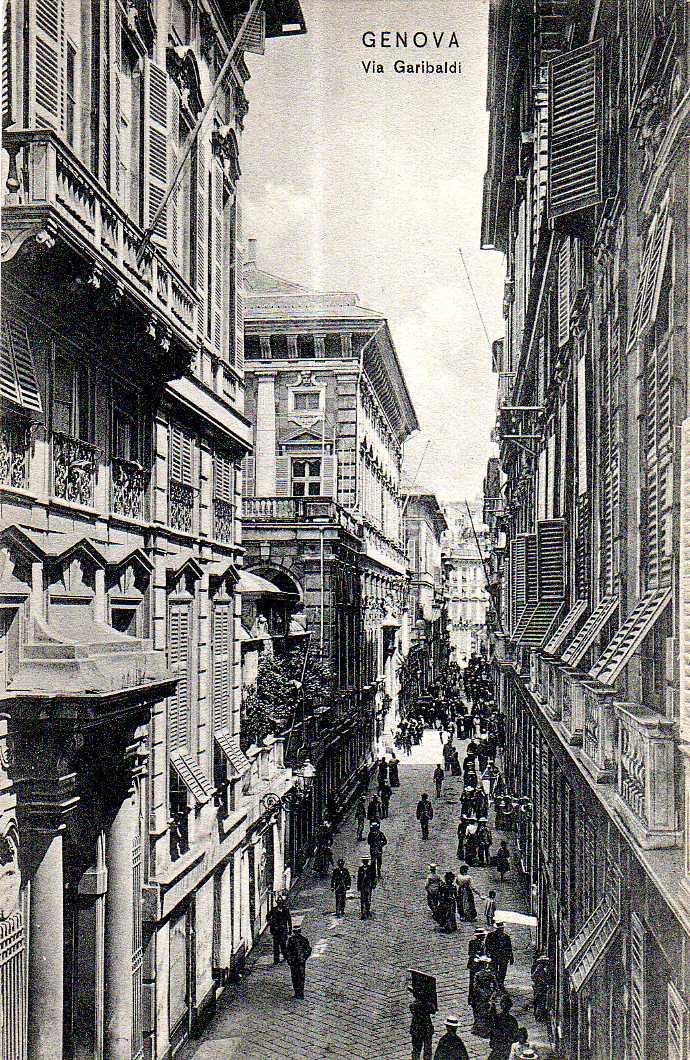 Via Garibaldi genova, cartolina antica