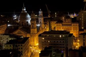 Genova notte, basilica di Carignano