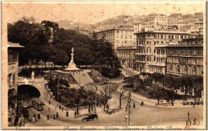 Piazza Corvetto Genova, cartolina antica